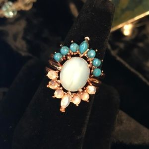 Charming Rose Gold Moonstone/Opal/Turquoise Ring